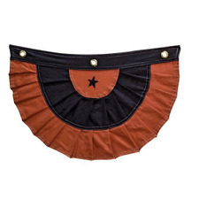 "HALLOWEEN BUNTING BLACK & ORANGE  18"" WIDE x 12"" LONG, COTTON, Prim, Country"