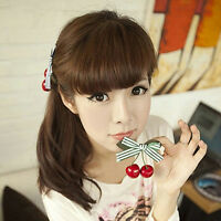 1Pcs Sweet Girl Kids Retro Vintage Pink Bow Cherry Hair Clip Hairpin 8.5*8cm  I2