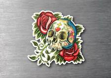 Sugar skull & roses day of the dead sticker 7 year water & fade proof vinyl