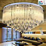 Geniune K9 Crystal Round Flush Chandelier 3 Light Colour + Remote Ctrl Bluetooth