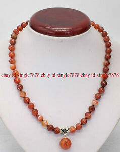 """Natural 8mm Red Striped Agate Gemstone Round Beads Pendant Necklace 20"""" AAA+"""