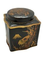 """Vintage Antique Hand Painted Japanese Mt Fuji Metal Tin Tea Canister 4.5"""" Tall"""