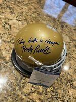 Rudy Ruettiger Signed Play Like A Champion Notre Dame Mini Helmet BECKETT COA 3