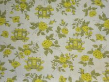 VINTAGE CARRIAGES & YELLOW ROSES COTTON FABRIC