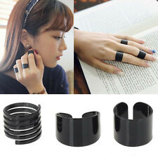 3pc Fashion Ring Set Black Stack Plain Above Knuckle Ring Open Band Midi Ring TO
