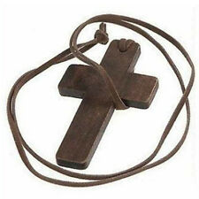 Vintage Men Women Brown Leather Religious Wooden Cross Pendant Necklace