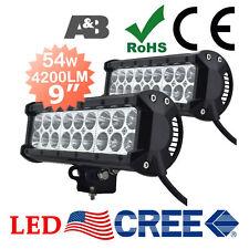 "2x A&B 9"" 54W CREE LED Light Bar Work Lamp Bright 4200LM 12V 24V Flood Beam"
