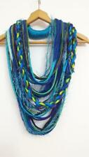 Teal Lime Turquoise Peacock Necklace Infinity Yarn Scarf Necklace Neck Wrap