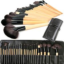 Mango de Madera Natural 24 un. Profesional Cepillo de Maquillaje Cosmético Kit Set Con Estuche
