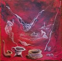 Enrique Agramonte Tan Linda Acrylic Canvas 8X8 Cuban Art Original Painting 2014