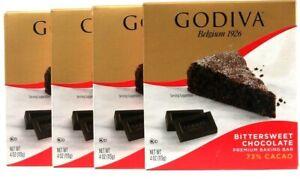 4 Count Godiva 4 Oz Bittersweet Chocolate 73% Cacao Premium Baking Bar BB 9/21