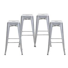 Set of 4 Gray 30 In Counter Height Tolix-Style Metal Bar Stools, Indoor/Outdoor