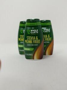 Whole Earth Stevia & Monk Fruit Liquid Sweetener 0 Calories (Lot Of 3) 1.62 Oz.