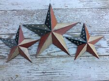 "(Set of 3) ANTIQUED PATRIOTIC AMERICANA BARN STARS 8""/5.5"" RUSTIC FLAG"