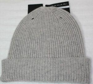 NWT Tahari Gray 100% Cashmere Ribbed Knit Cuff Hat Cloche Beanie Ski One Size