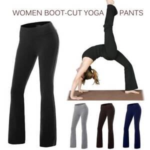 Women Bootcut Yoga Pants Bootleg High Waist Workout Casual Sport Fitness Trouser