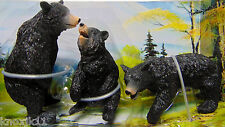 "NEW Play Set (3) BLACK BEARS  Wild Life Hunting FIGURINES 3"" Cake Topper Toys!"