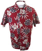 Chaps Men Hawaiian camp shirt L slim pit 2 pit 26 aloha luau tropical floral red