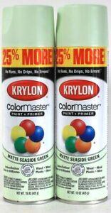 2 Cans Krylon 15 Oz ColorMaster 3448 Matte Seaside Green Paint & Primer Spray