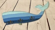 "Shades of Blue Whale with Metal 3 Double Hooks Wall Plaque Nautical 24"" Beach"