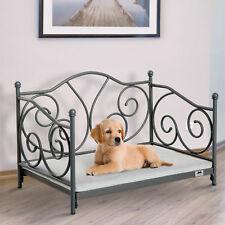 Luxury Pet  Bed Cushioned Seat for Dogs and Cats with Vintage Metal Frame Grey