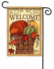 Harvest Welcome Basket Primitive Thanksgiving Small Garden Flag By Carson 2 Side