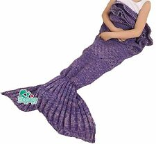 Hughapy knitted Mermaid Tail Blanket for Kids Crochet Snuggle MermaidAll Seas...