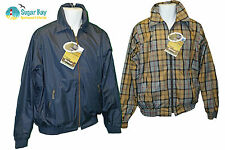 New BARBOUR Mens Collared Ayr Reversible GOLF JACKET Navy Blue and Tartan S