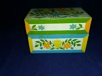 Vintage Syndicate Mfg Co Tin Metal Recipe Box Retro Yellow Orange Blue Floral