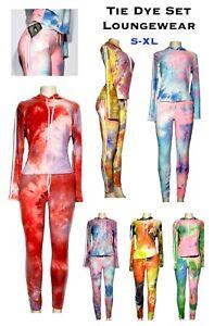 Women's Tie Dye Loungewear Set Tracksuit Hoodie Pajama Sweatshirt 2pc Tracksuit