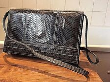 vintage 1970's dark brown snakeskin & leather shoulder/ clutch bag