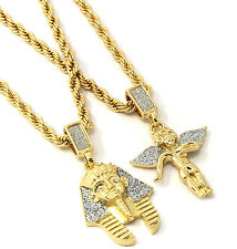 "Mens Gold Two Piece Pharaoh & Side Angel Set Pendant Hip Hop 24"" Rope Chain D451"
