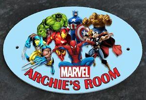 Personalised DOOR PLAQUE Sign MARVEL HEROES Any Name Kids Room Child's Bedroom