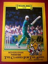 PAKISTAN, MOHSIN KHAN - SCANLENS 1986-87 CLASHES FOR THE ASHES Cricket Card # 1