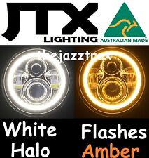 """1pr LED Halo 7"""" JTX Headlights Flash AMBER fits Land Rover Series 1 2 2A 3"""