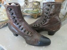 Gorgeous Women'S Old Vintage Brown Boots Shoes Leather Button Up