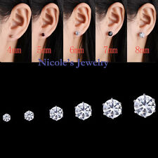 Stainless Steel Clear Round CZ Cubic Zirconia Studs Earrings 44