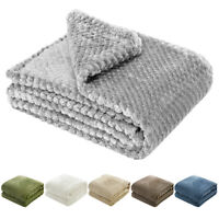 Flannel Fleece Throw Blanket Soft Faux Fur for Sofa Bed Couch Throw Twin Queen