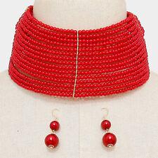 "14"" gold red pearl bead 2.50"" wide choker collar bib necklace 1.60"" earrings"