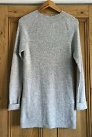 Ladies LNDR Grey Long Line High Neck Ribbed Jumper Wool Cashmere UK Size 10