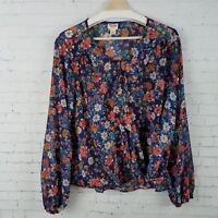 NEW Mossimo Womens Printed Long Sleeve V Neck Top Floral Sizes XS,S,2XL