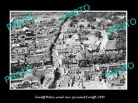 OLD LARGE HISTORIC PHOTO OF CARDIFF WALES, AERIAL VIEW OF THE CITY CENTER c1935