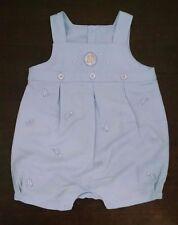 Minibasix Baby Boy Romper 3M Light Blue Linen Blend Rocking Horse Cowboy Theme