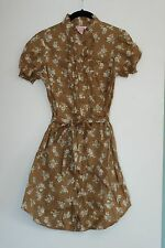 FIRE LOS ANGELES BROWN TAN FLORAL PRINT SHIRT DRESS WITH RUFFLES SIZE SMALL