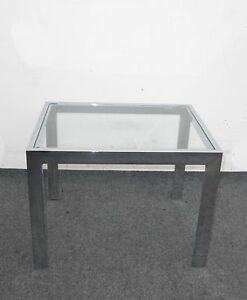 Vintage Contemporary Style Glass Top Chrome Base End Table