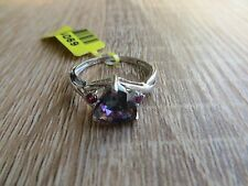 Northern Lights Mystic Topaz Rhodolite Garnet Ring Platinum Over Sterling Sz 7