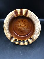 "Vintage Hull Pottery Ashtray Leaping Deer 8"" Brown Drip Glaze USA RETRO"