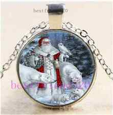 Father Christmas Photo Cabochon Glass Tibet Silver Chain Pendant Necklace