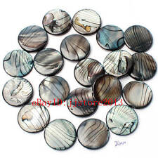"""20mm Natural Banded Black Shell MOP Coin Shape Gemstone Loose Beads Strand 15"""""""