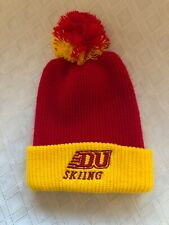 Vintage DU Skiing Pom Beanie Hat